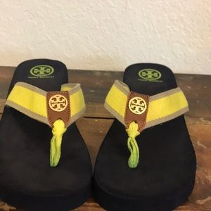 EUC Tory Burch wedge flip flops.
